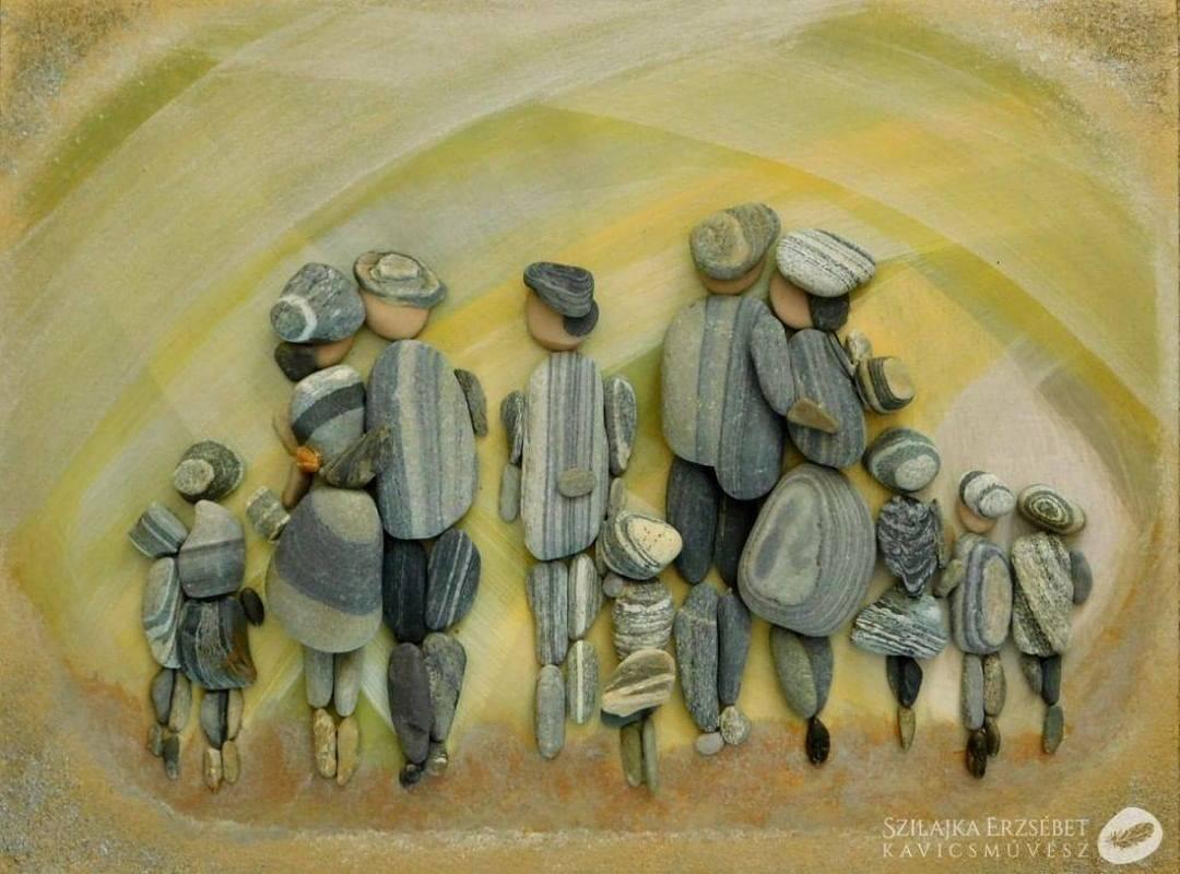 pebble art two family