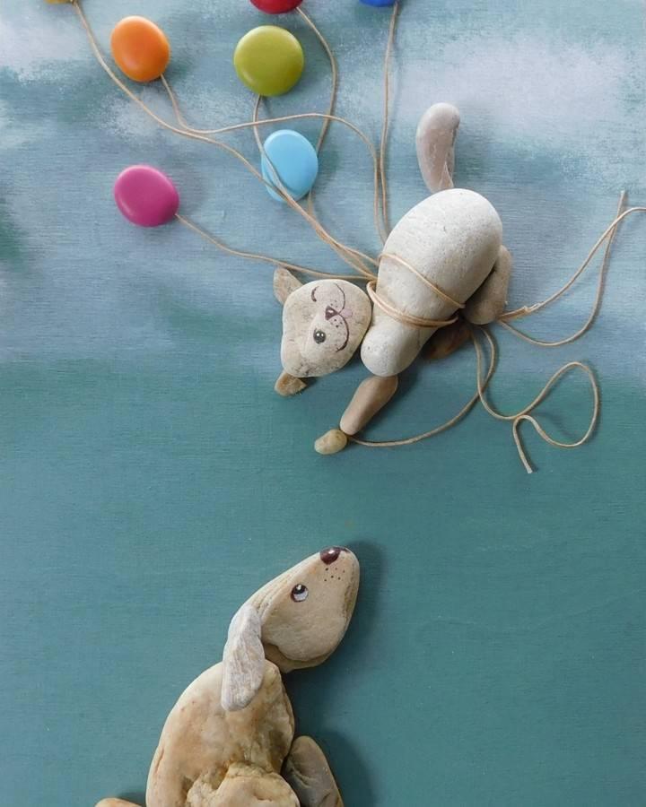 pebble art cat dog